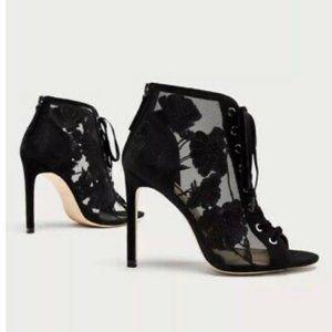 Zara Black Mesh Cutout Lace Up Heels Sz 8